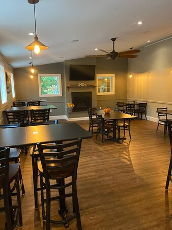 Our bar room with socially distanced tables open