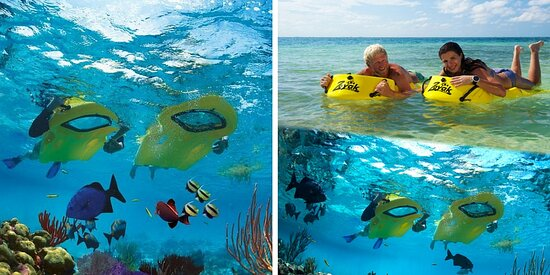 Frederiksted, St. Croix: The Zayak board is a great way to snorkel with your head and body being supported above water.