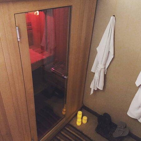 Private Steam Sauna. Comfortable seats a couple.