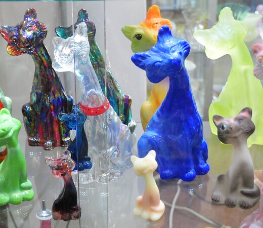 Display shelf/shelves at the Museum of American Glass in Weston, West Virginia.