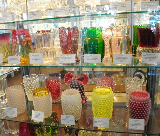Display shelf at the Museum of American Glass in Weston, West Virginia.