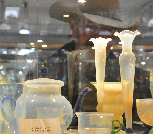 Glass art from the Frye Glass Co. in Rochester Pa.  Displayed at the Museum of American Glass in Weston West Virginia.