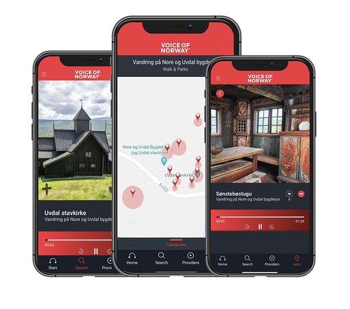 Hør alle de spennende historiene om stedet, fortalt rett på øret fra din egen mobil. Audioguiden Voice of Norway er gratis å laste ned.