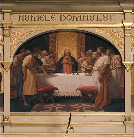 """Iconostasis of the """"Last Supper"""" and figures of saints."""