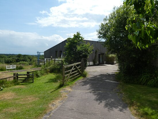 The entrance and parking at Balebarn Eco Lodge (sleeps 8)