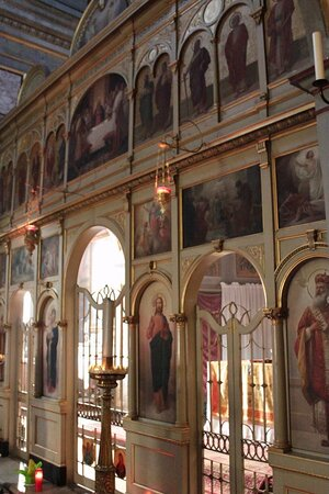The iconastis.The icon of Jesus Christ is to the right of the Royal Doors.