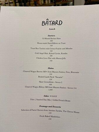 Lunch menu - late November 2020