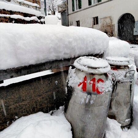 Daiano, Italien: Bidoni del latte.. Sotto la neve!!!