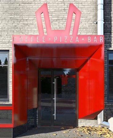 """RED RABBIT coffee.pizza.bar - наш вход выполнен в виде """"входа в кроличью нору"""" А сверху - торчат стилизованные кроличьи ушки"""