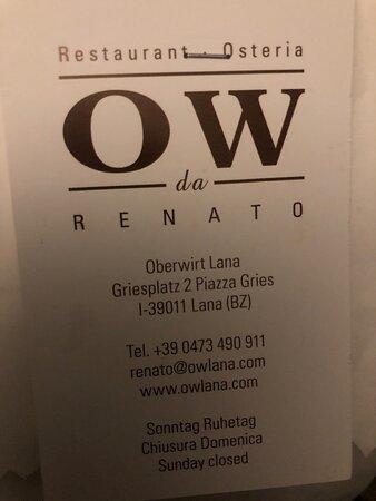 Il ristorante OW da Renato sostituisce Oberwirt