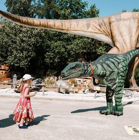 Would you pet a dinosaur? 🦖 Visit #dinoparkfuntana and see how brave you are! 🤩 Enjoy a day full of amusement, adventure and discovery! 🐎🎯🎪🎢🎡🍔