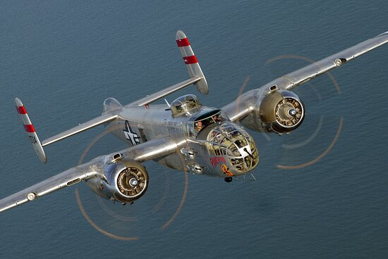 """Georgetown, DE : The B-25 """"Panchito"""" has become world famous in the community of Warbirds through its many appearances at airshows, Doolittle Raid anniversaries, magazine articles, TV appearances and recently, the only B-25 in the world on which qualified pilots can train."""