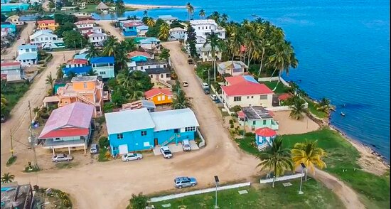 Aerial view of Bonefish Hotel showing distance from the Caribbean Sea