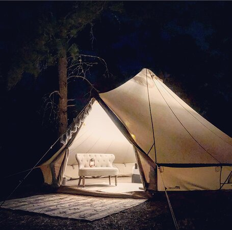 The Black Hills, South Dakota: Secluded camping at our walk in campsite in the beautiful Black Hills National Forest!  A scenic 500 yard walk in the hills leads you to our styled bell tent.  Spend your evening relaxing by the propane fire pit.  Located just 6 miles outside of Spearfish.