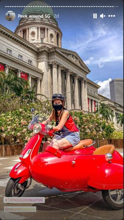 My ride on the red Vespa Sidecar
