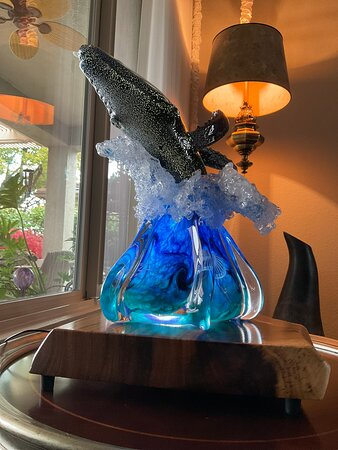 Makai Glass Humpback whale breach, 25 pounds of exquisite beauty, created by amazing artists in one of the most beautiful places in the world, Maui Hawaii.