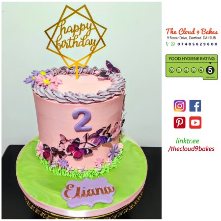 Pink-Purple butterfly theme cake