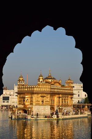 Amritsar, India: The Har ki Pauri, shimmering in the morning Sun