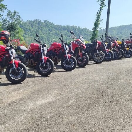 Team Ducati @ The Estate Cafe.  Ride safely.