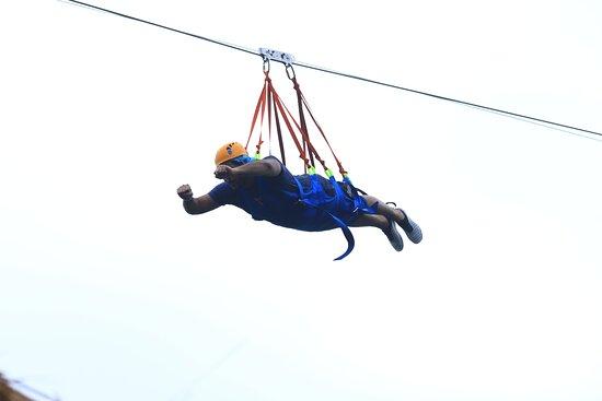Cancun Adventure Tour at Selvatica: Zipline, Aerial Bridge, Buggy, Bungee Swing and Cenote Swim: superman