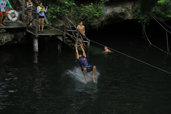 Cancun Adventure Tour at Selvatica: Zipline, Aerial Bridge, Buggy, Bungee Swing and Cenote Swim: cenote zipline