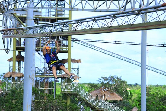 Cancun Adventure Tour at Selvatica: Zipline, Aerial Bridge, Buggy, Bungee Swing and Cenote Swim: roller coaster