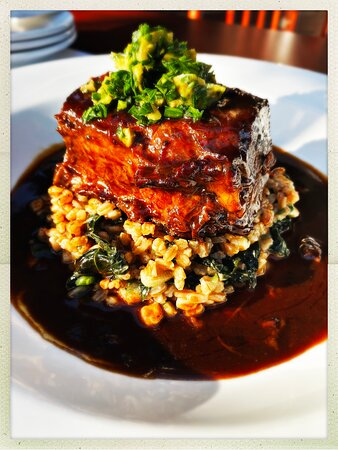 Slow Braised Beef Short Rib with farro, tuscan kale & goat cheese