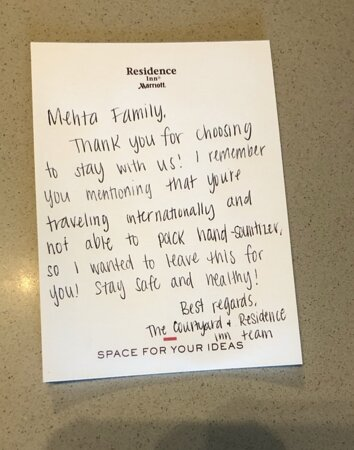 Note left by the Hotel on my arrival