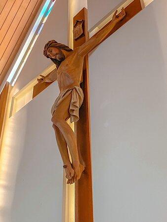 The cross at the church altar