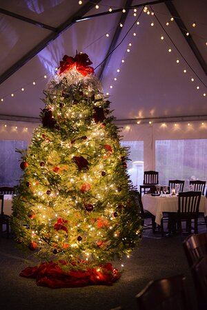 Our festive outdoor dining tent