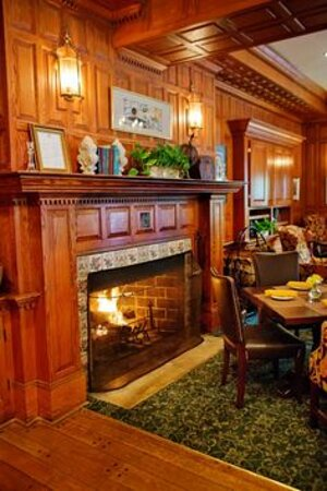 The Tavern features a cozy wood burning fireplace.