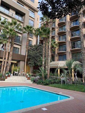 Beautiful courtyard with pool.