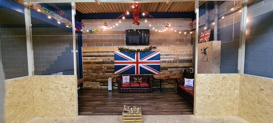 This is our upstairs VIP area ideal for parties. Our VIP area is an upstairs area and has 3 lanes, its very own sound system, and comfy chesterfield sofas. Ideal for hen/stag do's, birthday, baby shower, gender reveal.