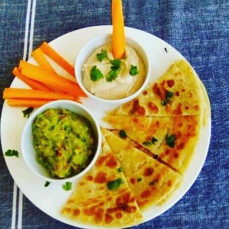 Chapatti with guac and hummus! Delicious!