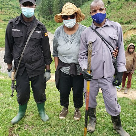 Me and my porter and security after gorilla trekking in Bwindi Impenetrable National Park.