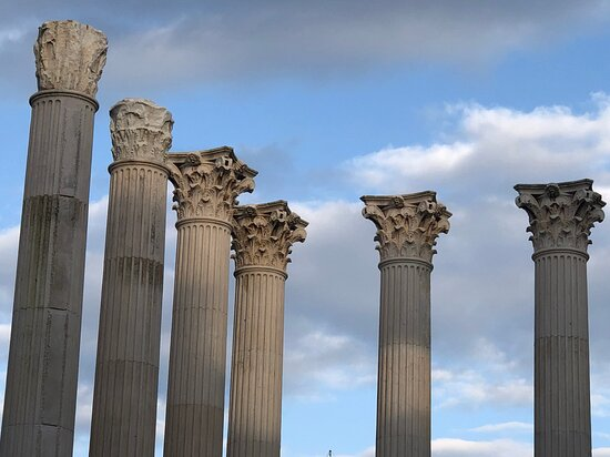 Ruins of a 1st century Imperial Roman temple in the centre of Cordoba