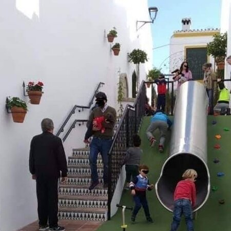 A plaza with a slide
