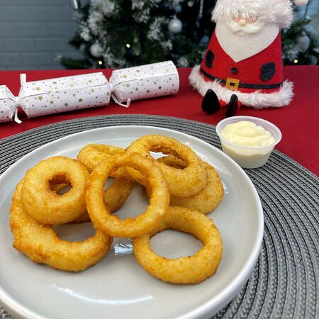Beer battered rings comes with a choice of dip
