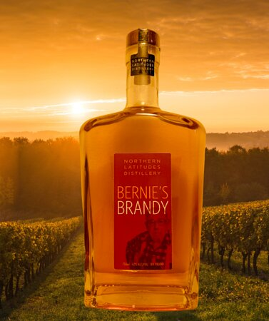 Bernie's Brandy is a one batch brandy that will never be duplicated again. We distilled the last of Boskydel Winery's wine and barrel aged it in our used Latitudes Bourbon barrels.