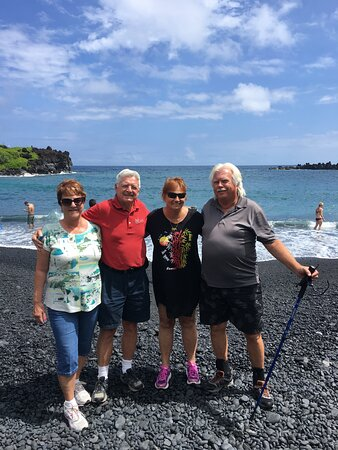 Hiking down into the Black Sand Bach.