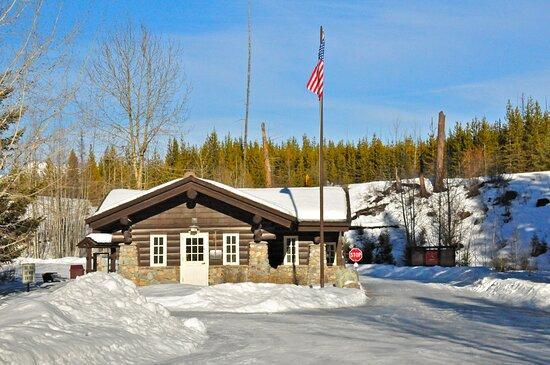 Flathead National Forest, MT: Glacier National Park's Polebridge/Bowman Lake entrance gate north of Polebridge.