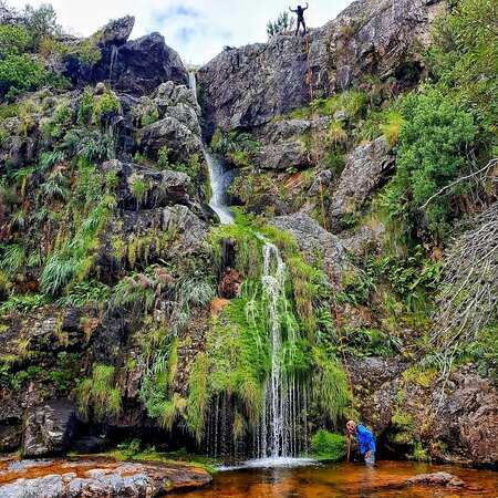 This is the first waterfall abseil, just 536m from the car park. AWESOME!!!