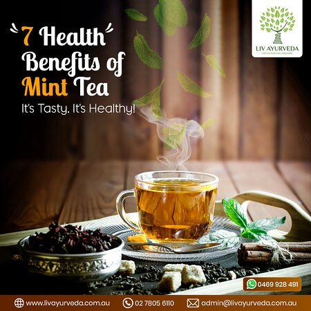 The taste of Mint tea is pleasant that it can't be forgotten. It's not just a refreshing beverage but also a healthy herbal tea which is known to have attributes to treat various ailments. Here we are listing 7 benefits of Mint Tea.  • Helps to cure an upset stomach • Boosts immune system • Improves digestion • Treats bad breath • Aids in weight loss • Helps to reduce stress • Makes skin and hair healthy  To know more similar health benefits, feel free to visit us: http://livayurveda.com.au/