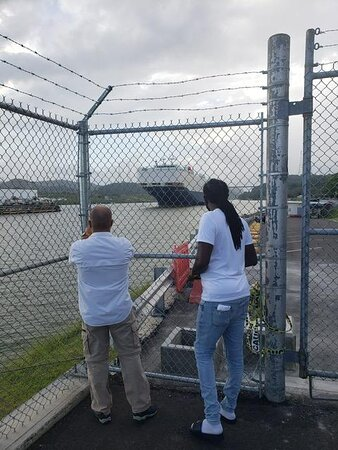 """Private Transfer Airport PTY to Panama City: The Miraflores Visitor Center was closed due to the pandemic, however, (Cesar in the picture at the left) made sure a great view of the Panama Canal was seen The private Panama Canal and City Tour was excellent.  Local stops and able to get some local Panama food at the """"Mercado de Mariscos Restaurante Panama"""""""