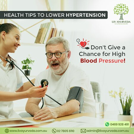 Here we are providing you with some tips that can help in lowering hypertension. Find them below: • Walk and exercise regularly • Learn to manage your stress • Include more potassium-rich food in your diet • Reduce the intake of sodium or reduce salt in your food • Lose weight • Say no to smoking • Try meditation and deep breathing  For similar tips, Visit Liv Ayurveda : http://livayurveda.com.au/
