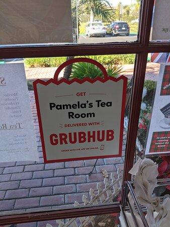 Grub Hum delivers goods from  Pamela's Tea room.