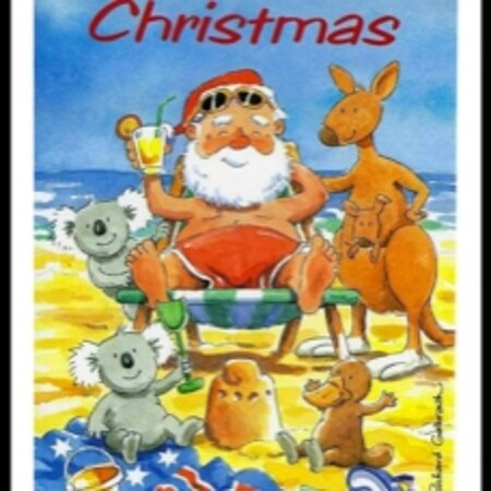 Australia: Aussie Christmas🎄🏖🎽   The  Christmas card from my friend in Sydney. MERRY CHRISTMAS TO EVERYONE, TA MATES 🧡💛♥️