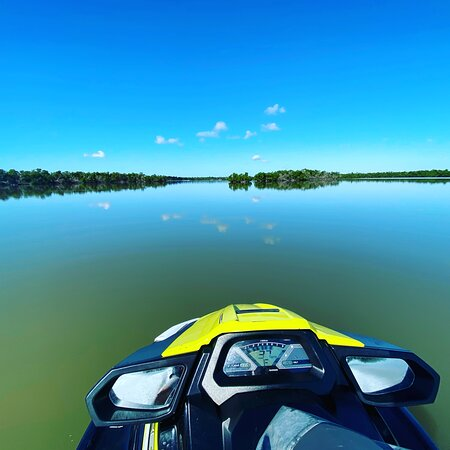 The water is as smooth as glass! Can't ask for a better ride through the mangroves. Join us for a Jet Ski tour through the 10,000 islands!  • • Call: (239)-348-5551 or visit www.floridaadventuresandrentals.com  and Book your next adventure!!!