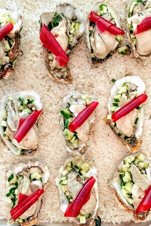 Oysters, cucumber, cherry cannelloni