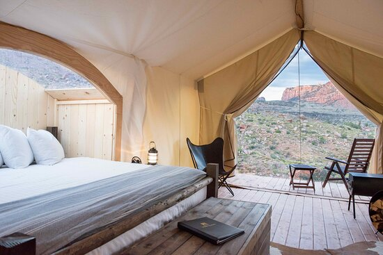 Springdale, UT: Glamping options about across Greater Zion, but especially right outside of Zion National Park. For example, Under Canvas Zion provides majestic views of Zion National Park.